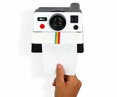 polaroid shaped toilet roll holder hand