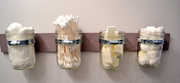 q tips cotton wool mason jars
