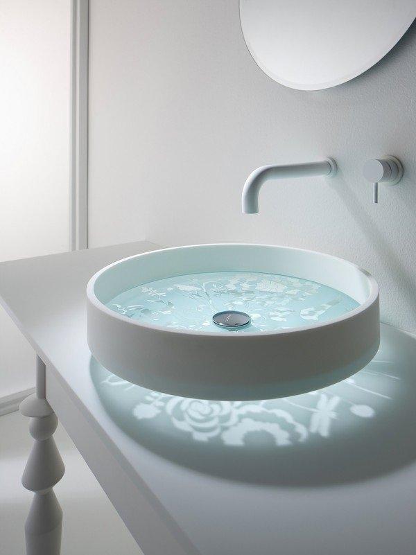 round clear base sink