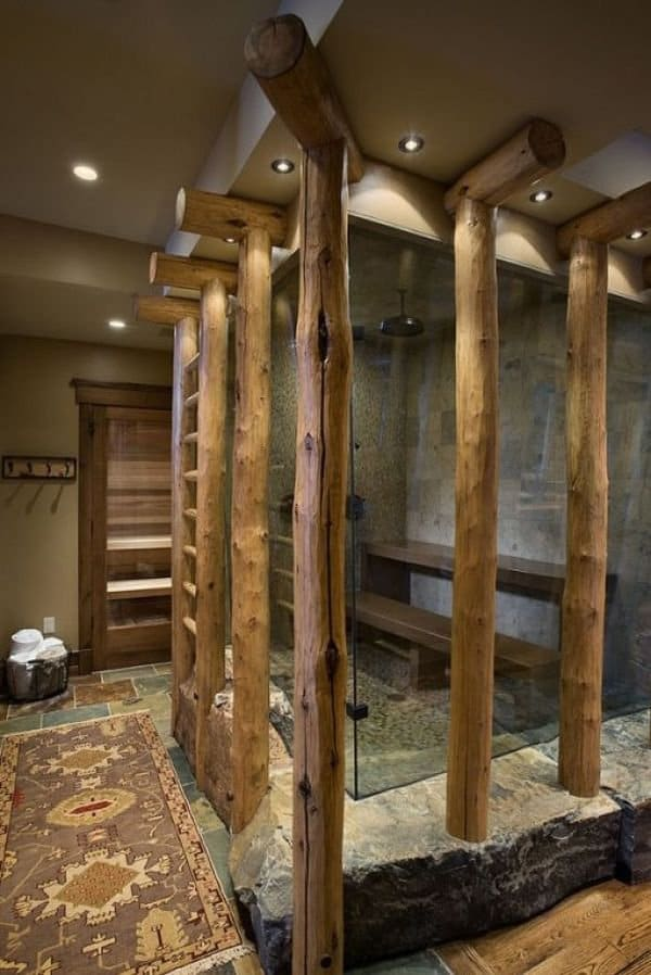 shower designs with wood poles - Shower Designs