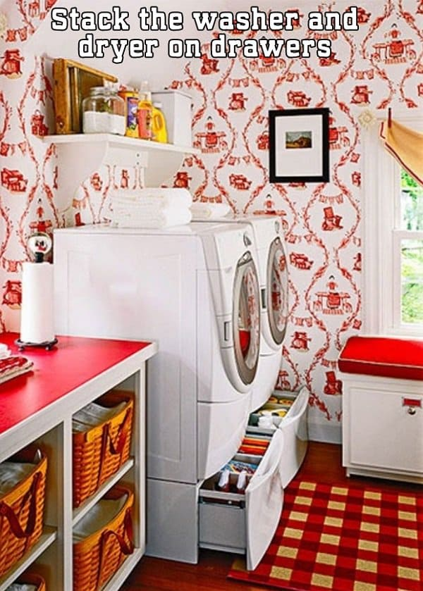 stack washer dryer on drawers