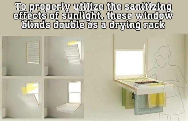 window blinds drying rack
