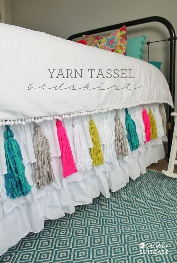 yarn tassle on your bedding