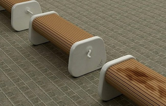 Benches that rotate to dry side