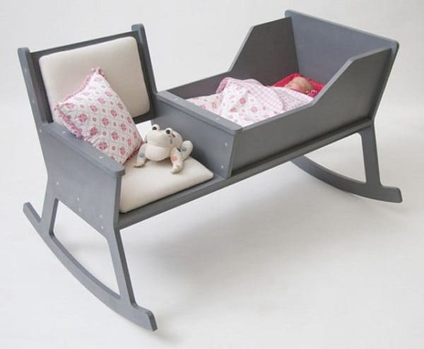 rocking chair and crib in one with baby resting invention idea