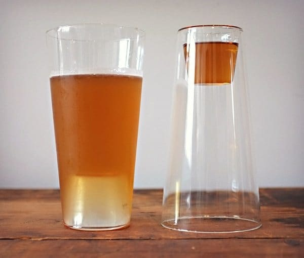 two in one glass with area for normal drink and shot drink