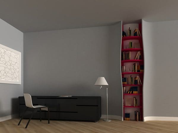 bookcase in wall