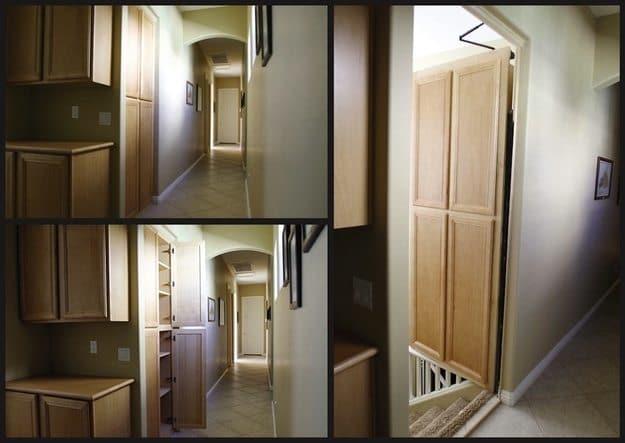 threeway image showing hidden door leading to stairs