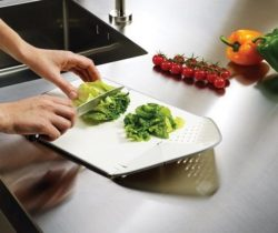 chopping board and colander