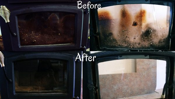 cleaning fireplace glass with ease