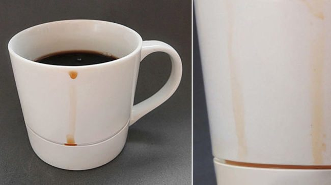 mug that catches drips with a groove
