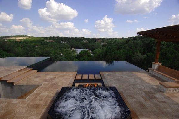 fireplace infinity pool