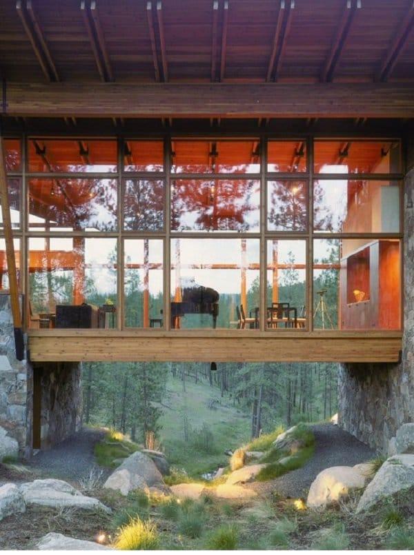 glass walled in bridge