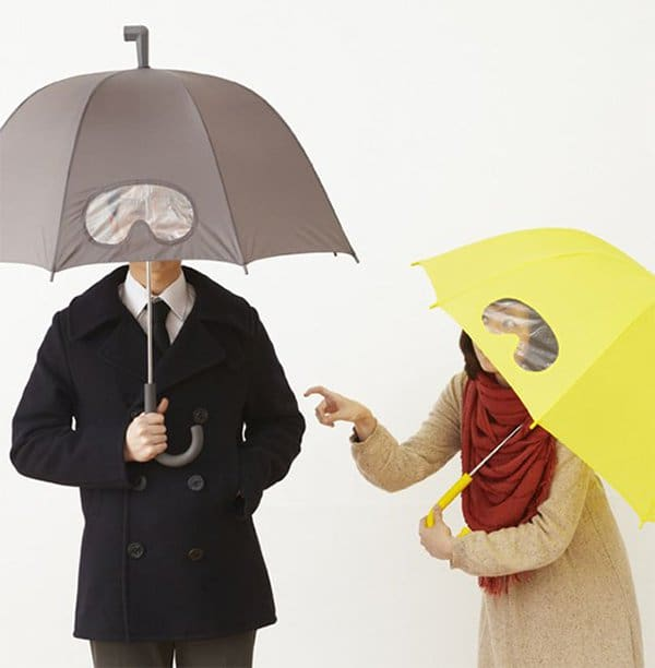 people using umbrellas with see through goggles patch