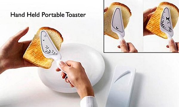 Person Demonstrating How To Use Hand Held Portable Toaster On Bread