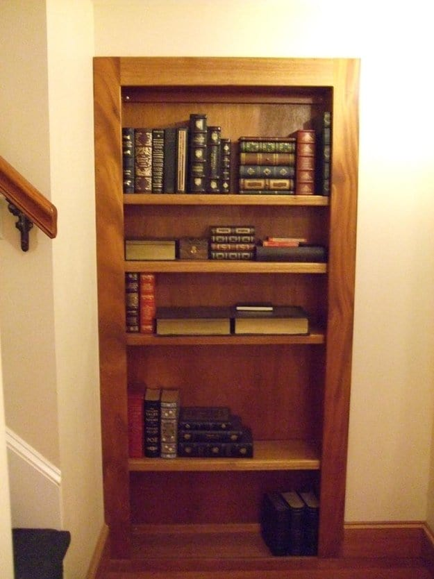shelves with books on