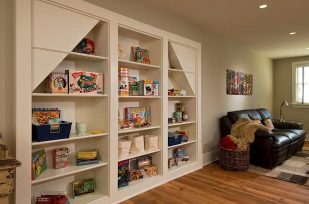 white shelves with children's items on it