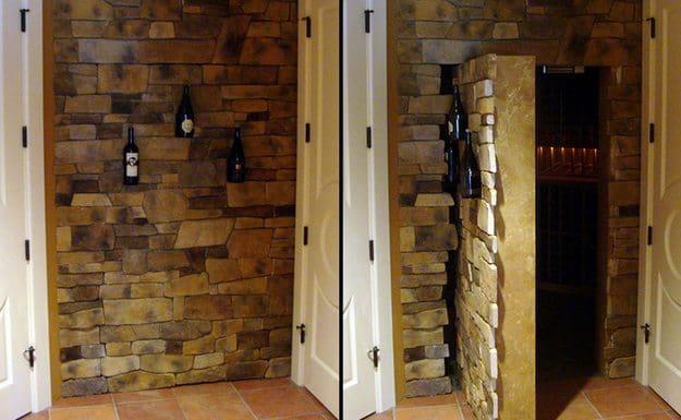 hidden brick wine cellar door closed and open comparison