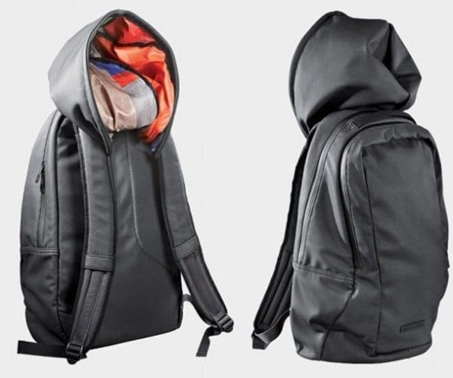 backpack with a built in hood