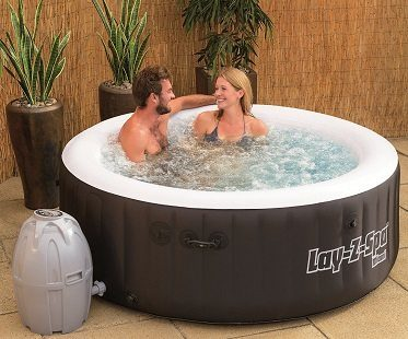 inflatable hot tub couple