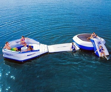 inflatable trampoline and water slide attached