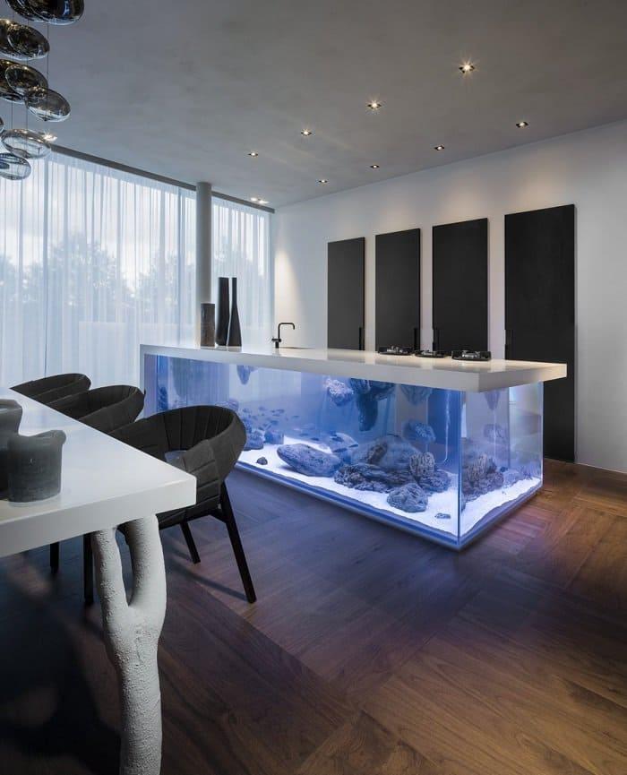 kitchen island with aquarium