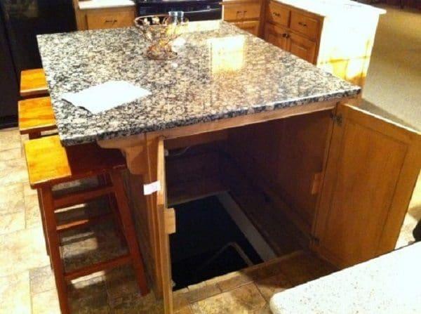 kitchen island with secret passage