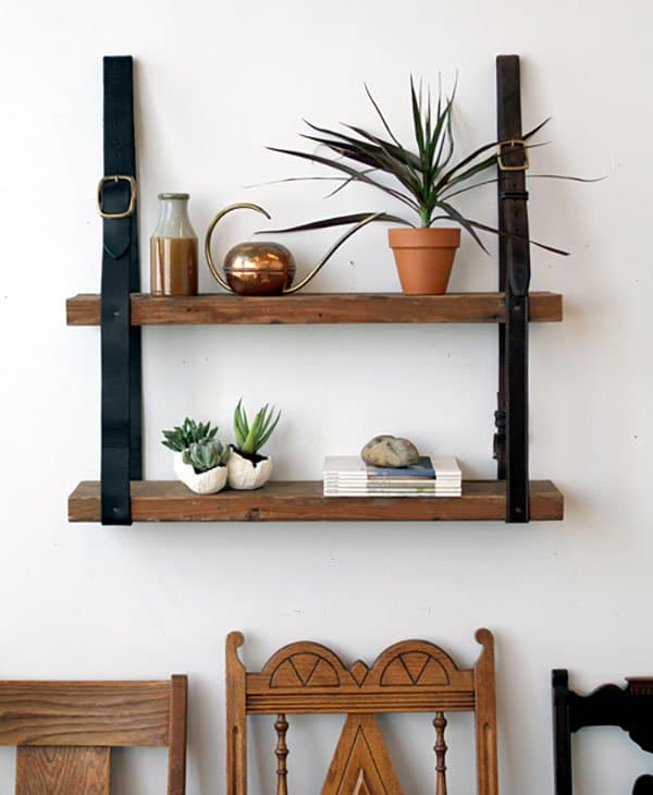 leather belt wood shelf