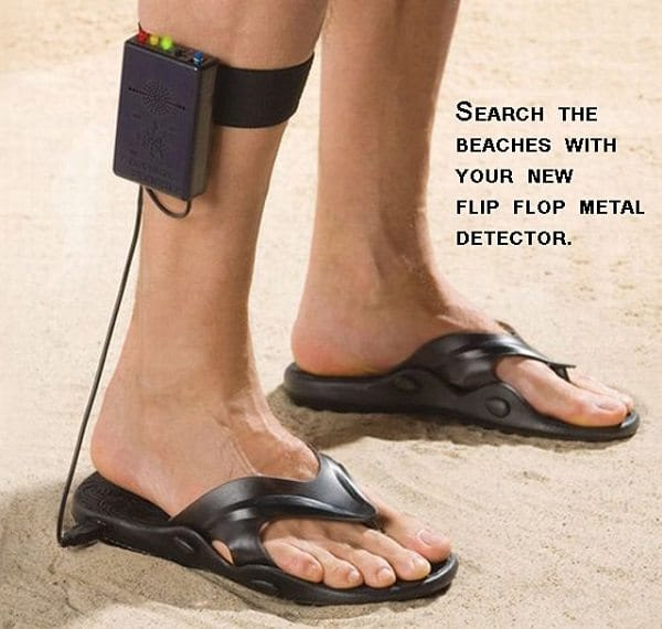 person wearing metal detector flip flops