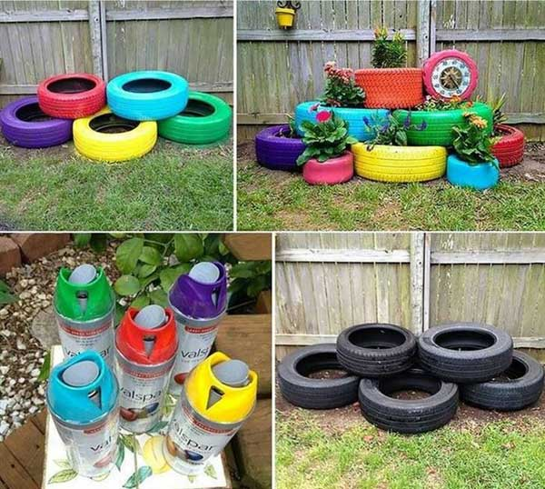 old-tire-planters