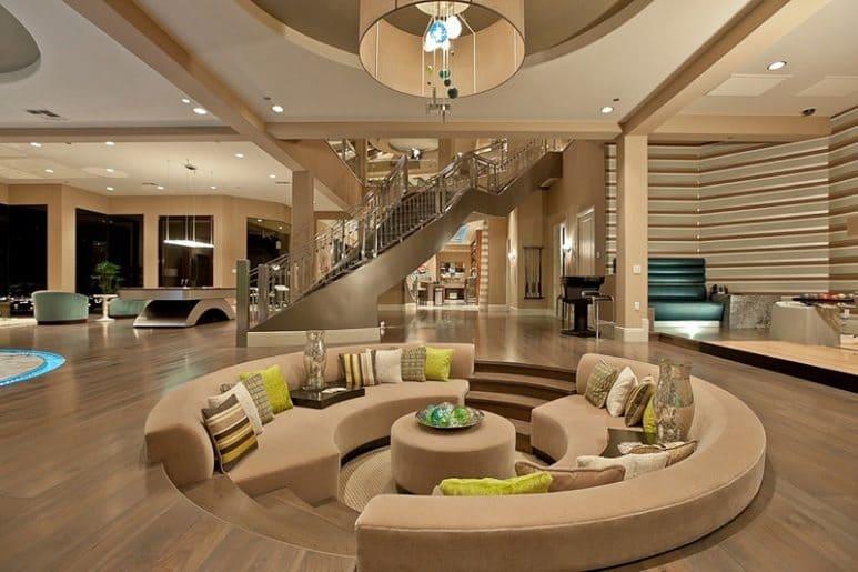 round beige modern sunken pit indoors
