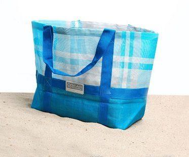 sand free beach bag blue