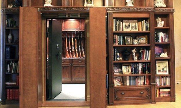 secret-gun-safe room hidden behind shelves
