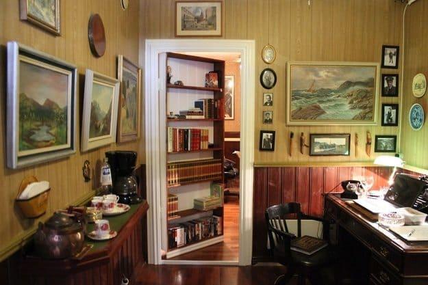 shelves leading to secret office