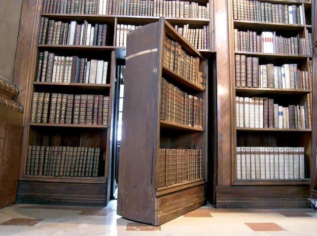 bookshelf door leading to hidden room