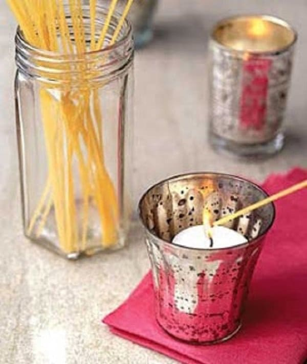 spaghetti to light candles