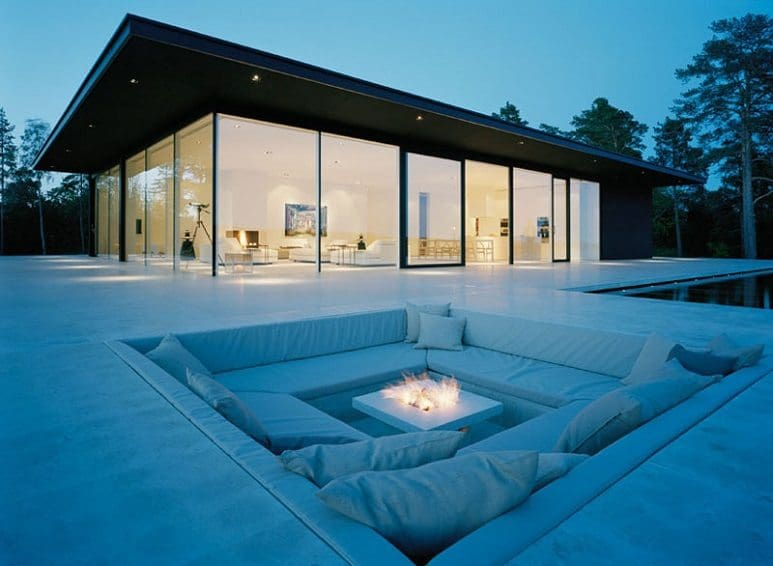white square outdoor conversation pit