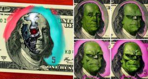 superheroes and villians on money