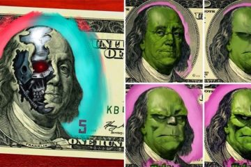 superheroes and villians on money