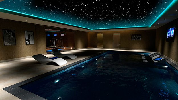 25 amazing home theaters anyone would love to own for Swimming pool room decor