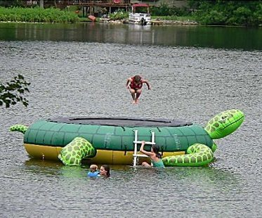 turtle water trampoline lake