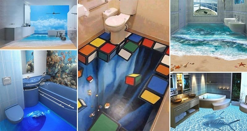 13 3d bathroom floor designs that will mess with your mind for Floor 3d design