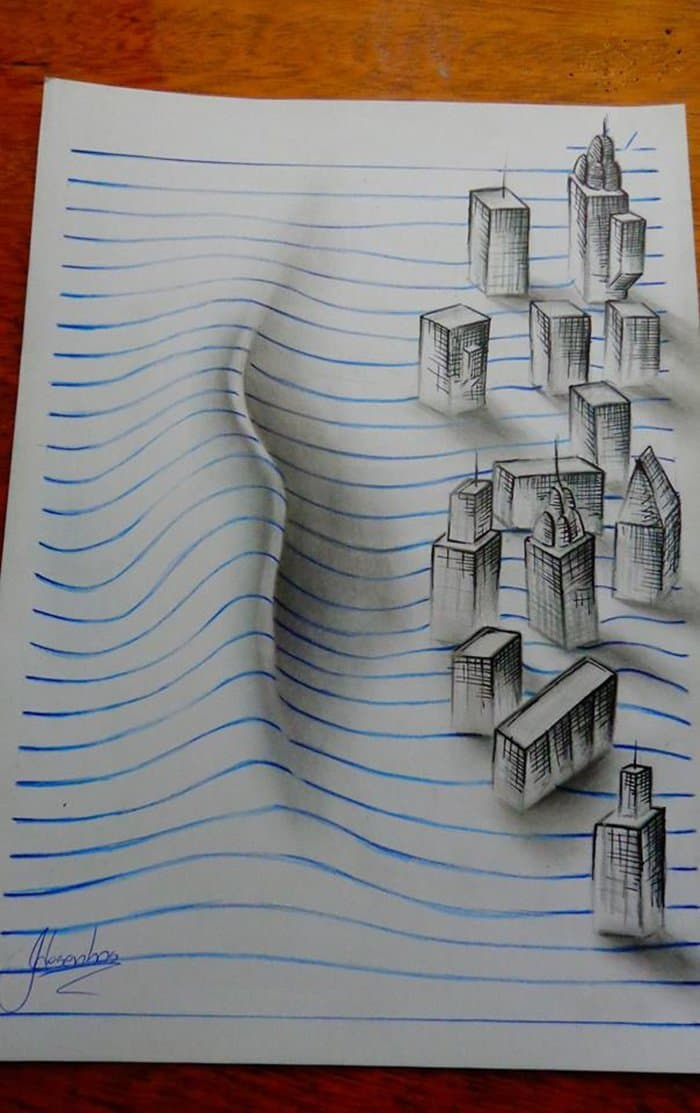 D Lined Paper Drawings : These amazing d pencil drawings will mess with your mind