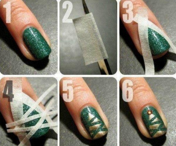 Christmas masking tape manicure
