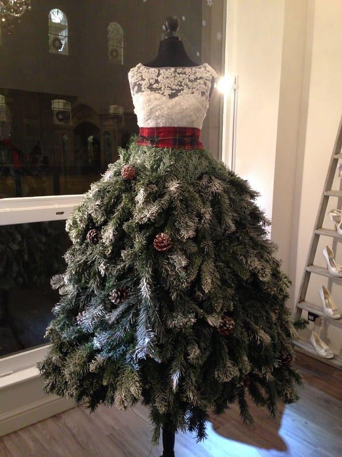 Christmas tree dress karen elizabeth bridal window display