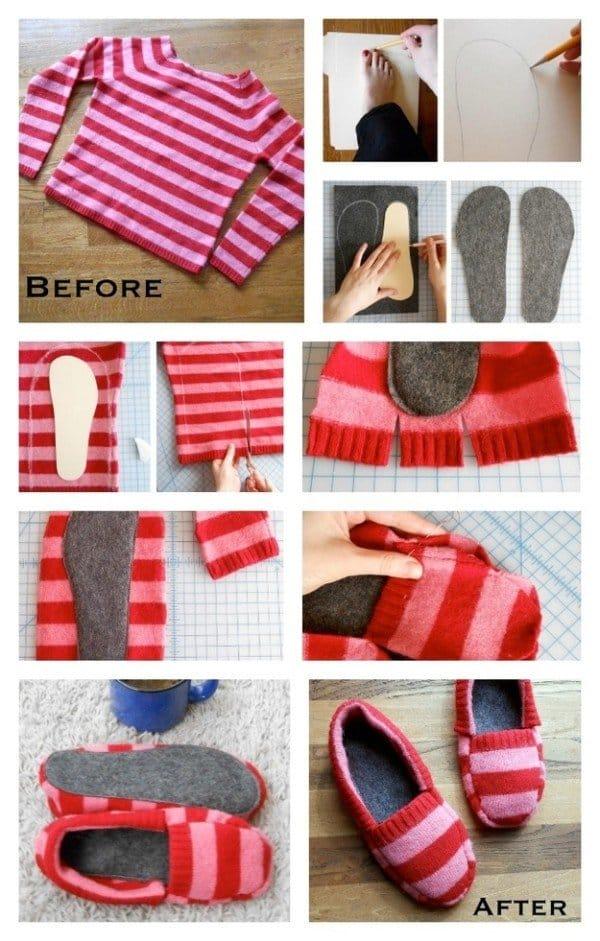 DIY sweater slipper