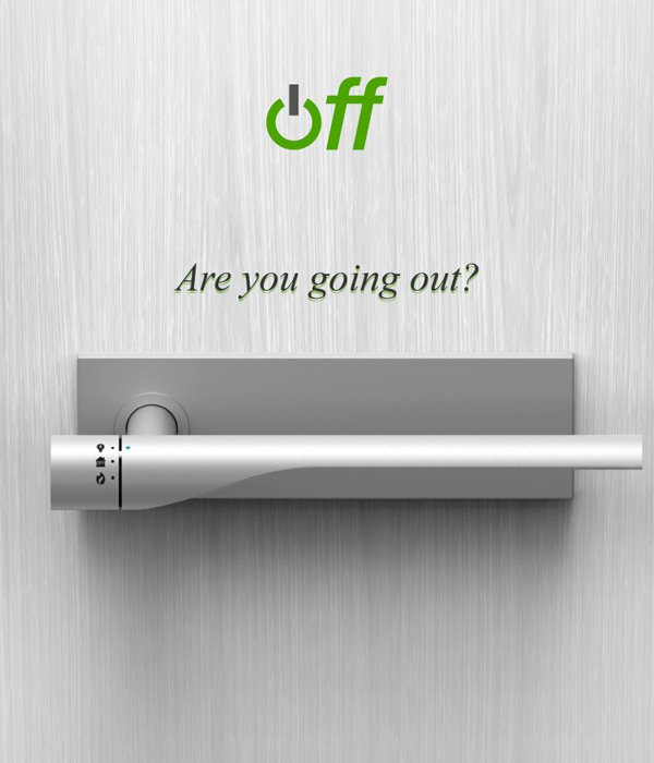 Door handle turns off electricity and gas automatically on leaving