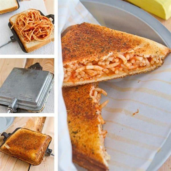 Garlic bread and spaghetti sandwich