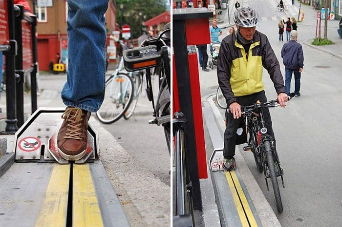 Norway bike escalator cyclist