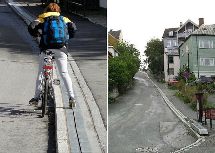 Norway bike escalator in use